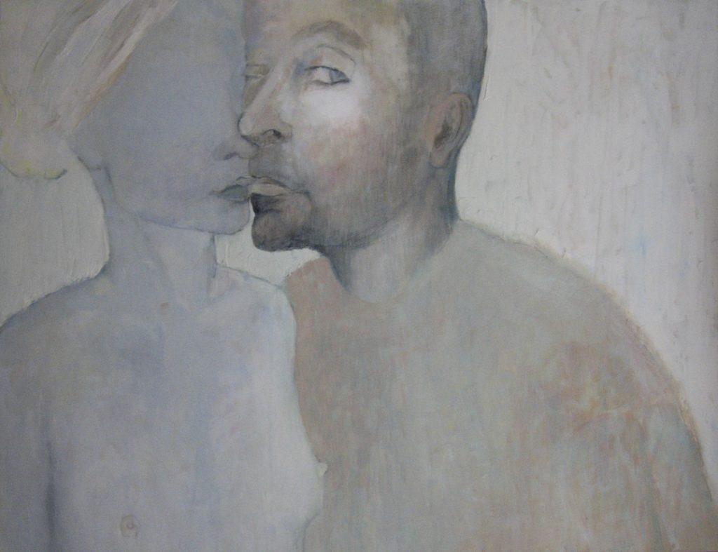 """13 """"Autoportret z Łukaszem"""" Akryl, 100x70cm, 2007, własność prywatna"""