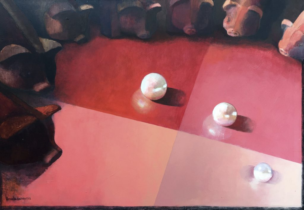 """16 """"Nie rzucajcie swoich pereł przed świnie"""" Akryl, 116x81cm, 2015"""