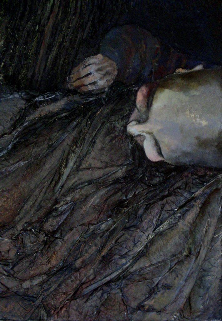 """6 """"Dzieci też mają złe sny"""" Akryl, technika mieszana, 70x100cm, 2002"""