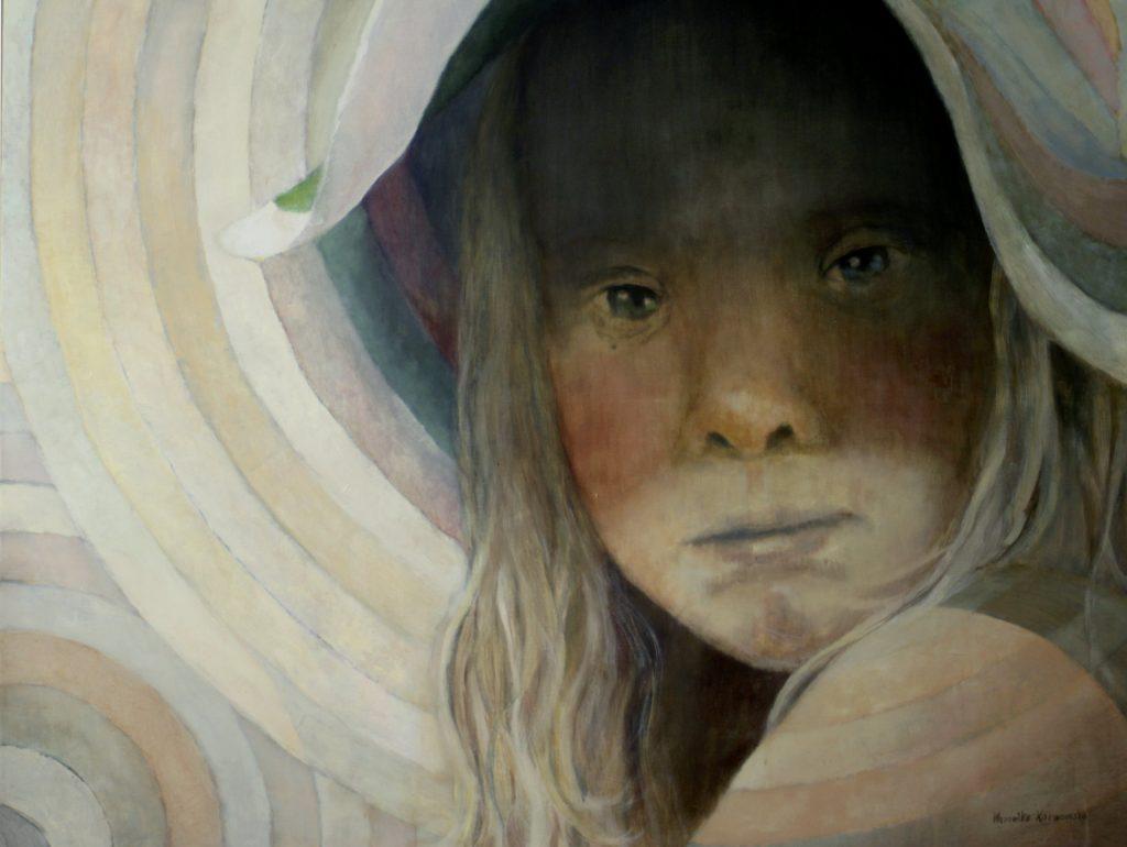 """""""Mam na imię Marysia. Mam 7 lat. Chciałabym malować i robić zdjęcia.  Mam Zespół Downa"""" Akryl , 130x97cm, 2010"""