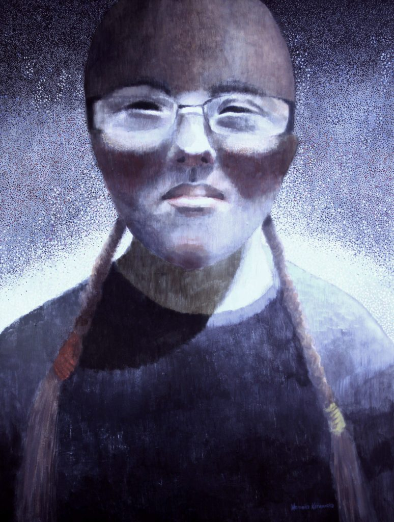 """""""Mam na imię Małgosia. Mam 17 lat. Chciałabym być policjantką. Mam Zespół Downa"""" Akryl, 97x130cm, 2012"""