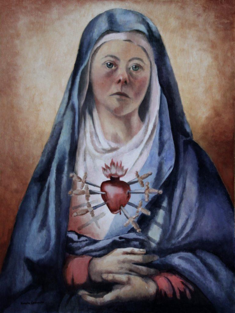 """""""Matka Boska od Downów"""" Akryl, 97x130cm, 2010"""