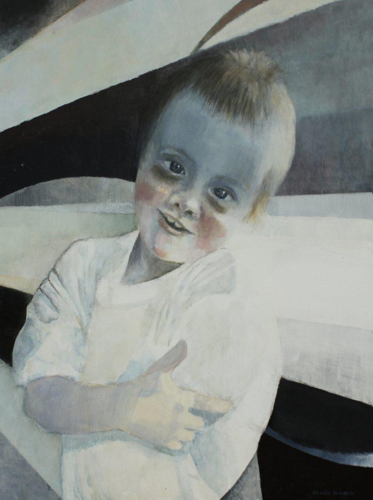 """""""Mam na imię Franek. Mam 10 lat. Chciałbym latać samolotem. Mam Zespół Downa"""" Akryl, 97x130cm, 2010"""