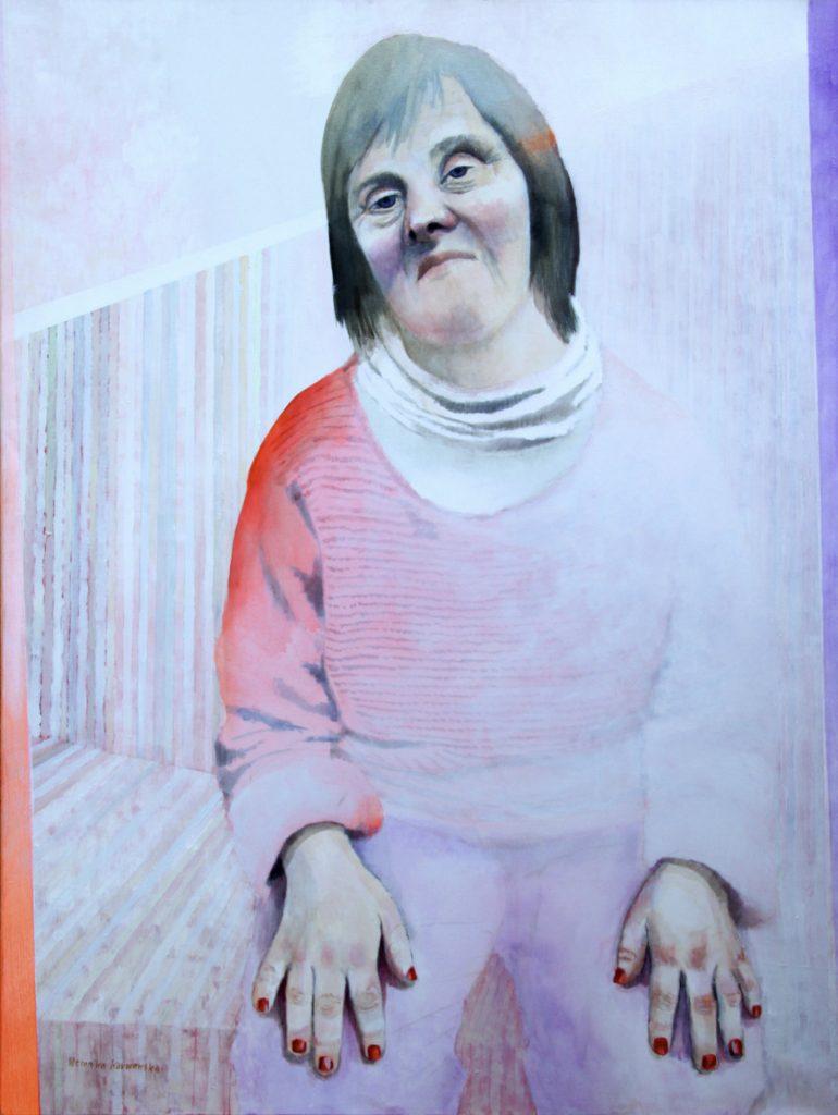 """""""Mam na imię Kasia. Mam 46 lat. Chciałabym być ze swoją rodziną. Mam Zespół Downa"""" Akryl, 97x130cm, 2010"""