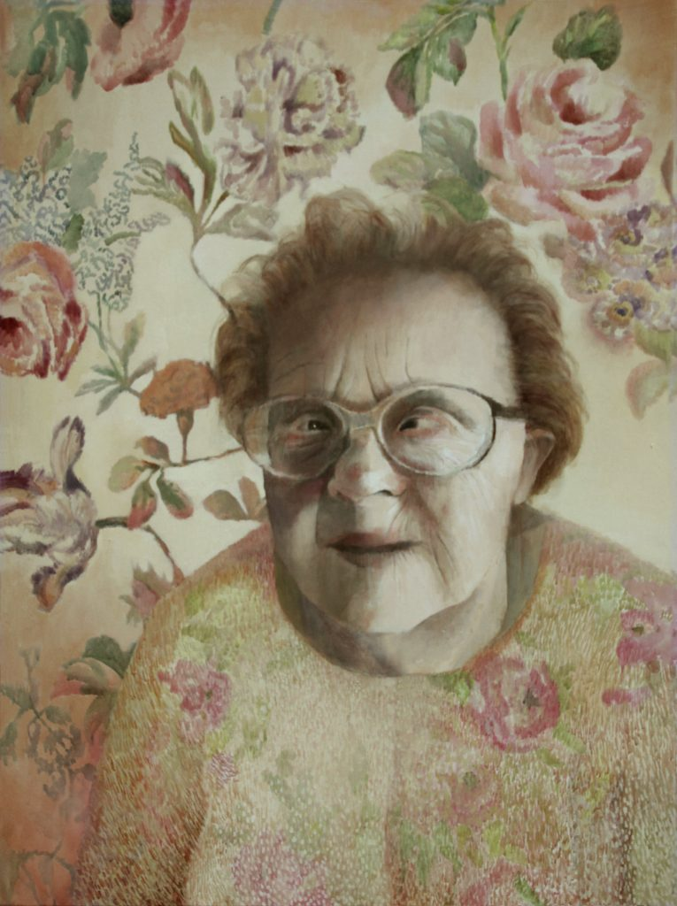 """""""Mam na imię Irena. Mam 56 lat. Chciałabym być matką. Mam Zespół Downa"""" Akryl, 97x130cm, 2010"""