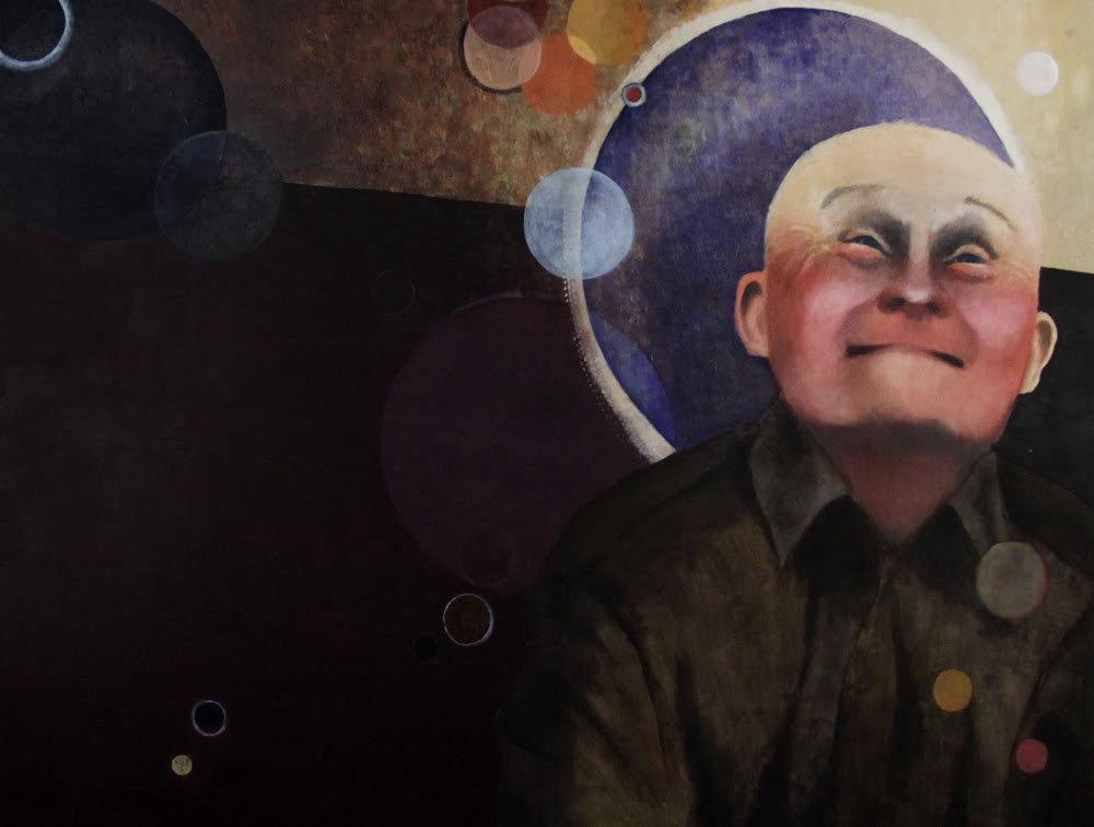 """""""Mam na imię Mieczysław. Mam 66 lat. Chciałbym żeby ojciec nie zostawił matki i mnie. Mam Zespół Downa"""" Akryl, 130x97cm, 2010"""